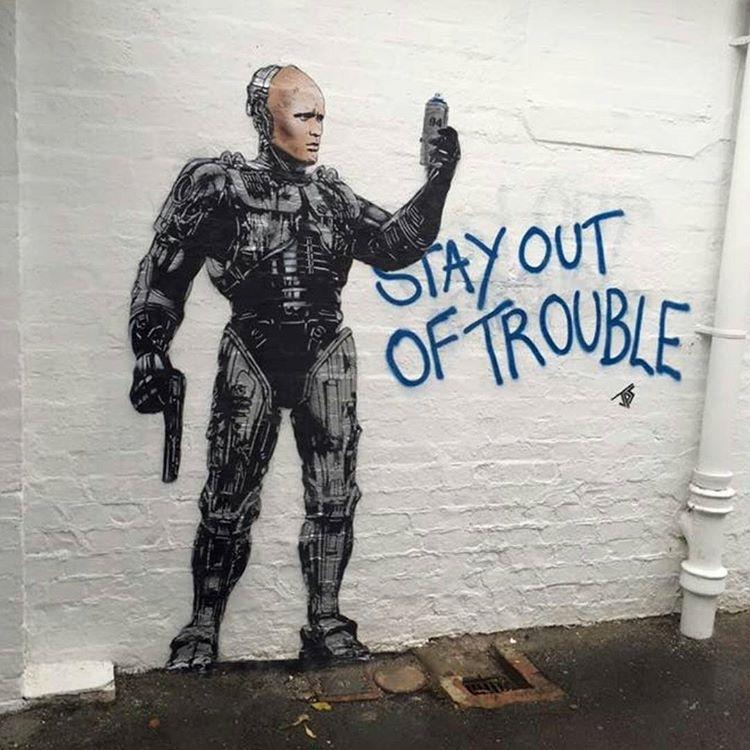 You have right to remain silent..m regram @venkman1636 Art by JPS #robocop #jps #streetart #graffiti #tags #stayoutoftrouble #movieart #art #peterweller #paulverhoeven #80s #80smovies #frankmiller