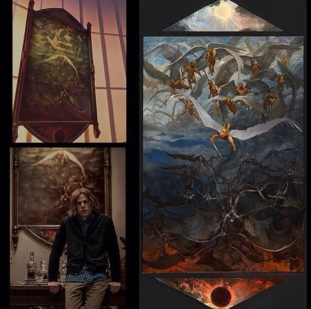 Powerful piece, I like the breaking of the frame. regram @everything_dceucomics The Painting In Lex Luthor's Study, Prop From Batman v Superman.  We Know Better Now, Don't We? Devils Don't Come From Hell Beneath Us. No, They Come From The Sky. @batmanvsuperman  Image By: @vancekovacs #art #illustration #drawing #draw  #picture #photography #artist #sketch #sketchbook #paper #pen #pencil #artsy #instaart #beautiful #instagood #gallery #masterpiece #creative #photooftheday #instaartist #graphic #graphics #artoftheday