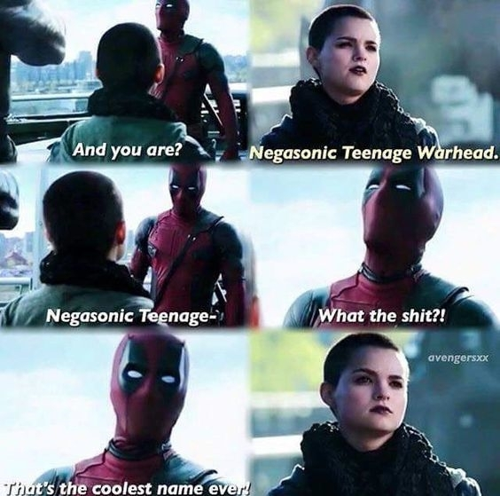 NTW. regram @enebriated It is the coolest name ever… LOL…. it's like Deadpool just gets me.  Negasonic Teenage Warhead… Now say it 5 times fast!  Follow for more #geektent all day everyday.  #captainamericacivilwar #civilwar #captainamerica #ironman #thor #falcon #warmachine #hawkeye #blackpanther #spiderman #deadpool #moviequote #movie #cool #lol #heh #funny #blackwidow #wintersoldier #agent13 #funny #meme #cacw #lol #lmao #lmfao #marvel #marvelcomics #mcu #marveluniverse
