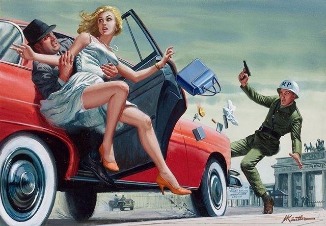Snatched! 😲 regram @shitshowpulps That dame's heading towards the Soviet sector. Art by Mort Kunstler #shitshow #mortkunstler #pulpart #coldwar