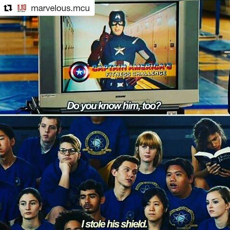 Spider-Man Homecoming. This actually looks fun, for a change. Looking forward to it.  Repost @marvelous.mcu ・・・ Haha👌. I honestly cannot wait for this film. . . . #comics #comicbooks #captainamerica #hulk #thor #blackwidow #hawkeye #thefalcon #antman #scarletwitch #quicksilver #warmachine #vision #avengers #marvel #marvelousmcu #superhero #ironman  #civilwar #thewintersoldier  #chrisevans #buckybarnes  #vision #spiderman #spiderman #blackpanther #spidermanhomecoming