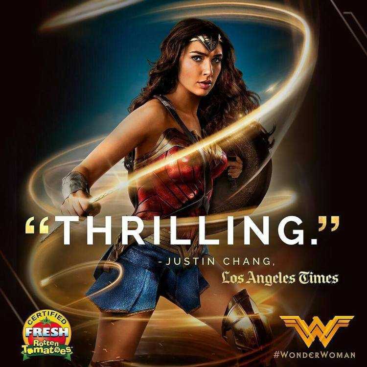 Wonder woman was good. Fresh, yes definitely, anything is better than the bleak DC universe so far. Funny and exciting. Had issues, a bit cheesy, especially at third act. But I enjoyed it very much. Yay for Greek influences! The costumes were stunning.  #Repost @wonderwomanfilm ・・・ Get ready for a thrill. #WonderWoman is NOW PLAYING! Get tickets! Link in bio. #ww #galgadot #DianaPrince #artemis #amazon #greekmythology