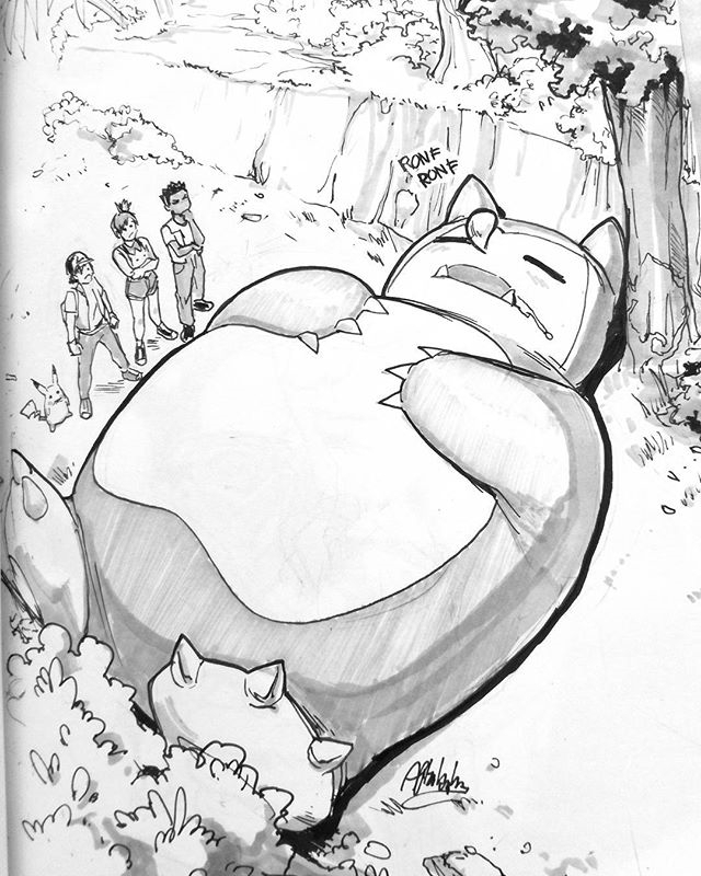 I am Snorlax. regram @afterlaughsart My 16th day of #INKtober2017 : #fat  #drawing #doodle #art #ink #inktober #snorlax #pokemon #fanart