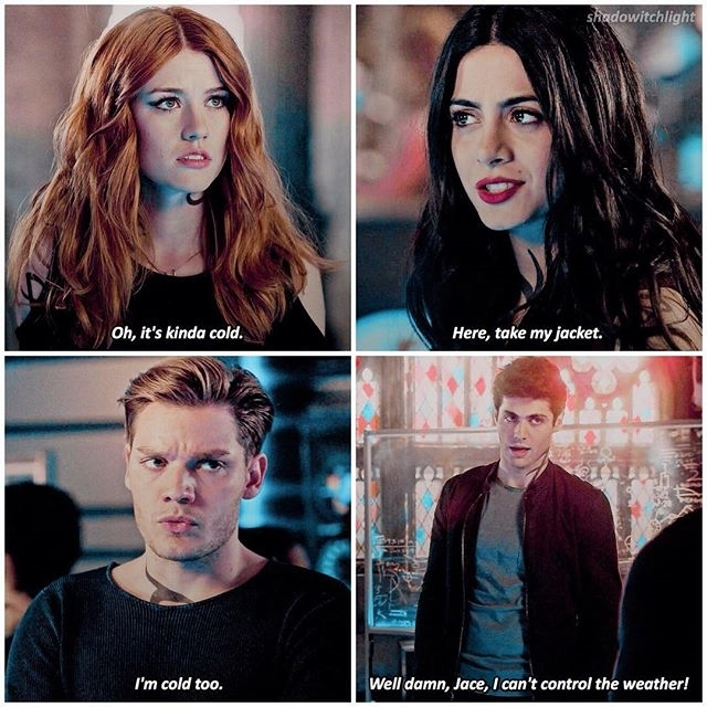 Jeez, Jace. regram @shadowitchlight — 2.16 + that 70s show quote iconic😛 — q: fav character out of these 4?