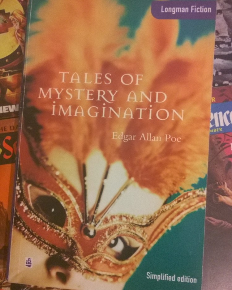 Look what I fished out from my library! It's from my English studies from when I was a kid. I remember all of Poe's stories vividly, no wonder I'm so fucked up. #talesofmysteryandimagination #bookstagram #lower #proficiency #cambridge #english #edgarallanpoe #poe #horror #halloween #themasqueofthereddeath #thebarrelofamontillado #thepitandthependulum #thewhirlpool #themurdersintheruemorgue #thefallofthehouseofusher #shortstories