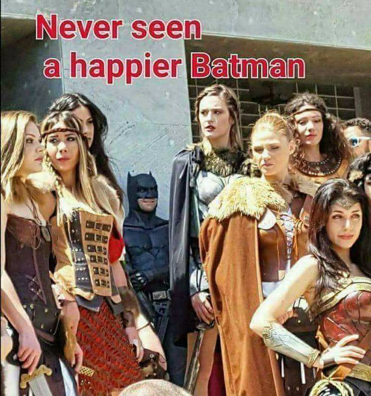 Will you look at that wide grin! #Batman #cosplay #amazons #wonderwoman #dc