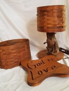 wooden woven basket plaque engraving
