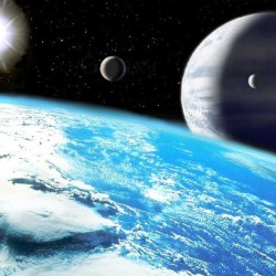 View from space of several planets and moons