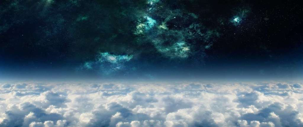 Journey through worlds background, light clouds with a black space with nebula