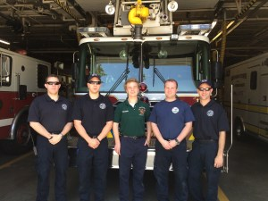 Left to right: Firefighter Nick Valentini, Firefighter Dan Higgins, intern Will Sprowl, Firefighter Nick Bruno, and Firefighter John Lindeman.
