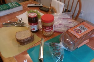 Mise en place: pb, j, bread, sandwich baggies