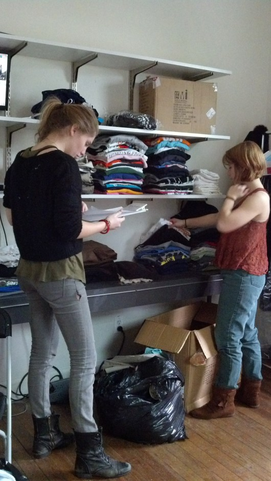 Alex and Kathryn organizing the closet