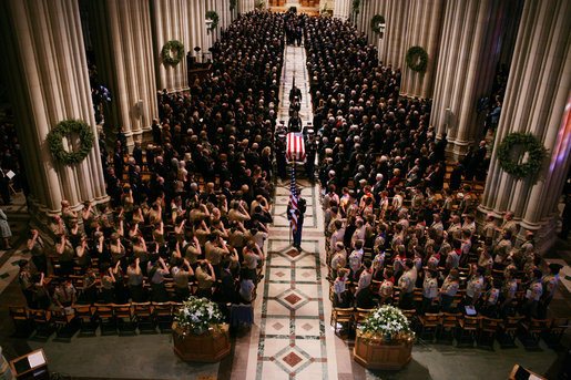 Caption from the White House website (now archived):   Boy Scouts attending the State Funeral service for former President Gerald R. Ford at the National Cathedral in Washington, D.C., salute his casket as it leaves the cathedral, Tuesday, Jan. 2, 2007. White House photo by David Bohrer.  Photo in the public domain