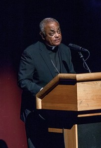 "Archbishop Wilton D. Gregory, the second keynote speaker at the Nostra Aetate Jubilee celebration, told the audience, ""Together we bask in the joy of our friendship."" Photo By Thomas Spink"