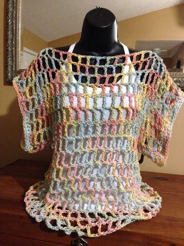 Open Weave Dolman Sleeve Pastel Coverlet