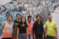 Translator Ena Nguyen, artist Questal Tay, Sàn Art general manager Tra Nguyen, and artists Dara Kong, Nguyễn Quốc Dũng and Uudam Tran Nguyen