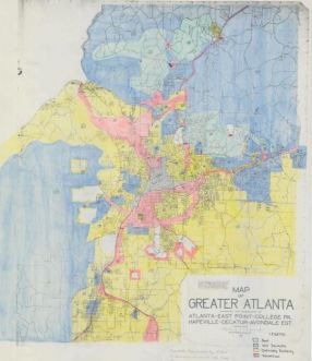 Redline Map for Greater Atlanta, Georgia, ca. 1935. National Archives and Records Administration, Record Group 195: Records of the Federal Home Loan Bank Board, 1933 – 1989.