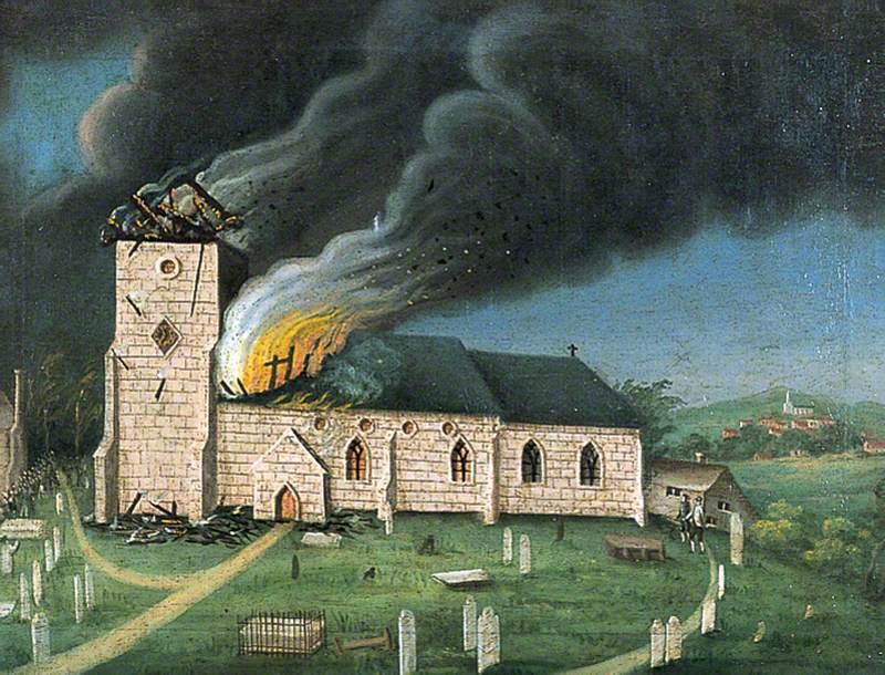 The destruction of Speldhurst Church in Kent on the 20th October 1791