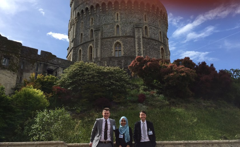At the Round Tower of Windsor Castle: Harrison Cutler, Ayesha Hussain, Lloyd Ross (left to right).