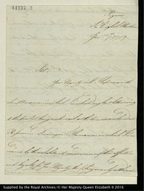 Letter from Prince William to George III, written aboard HMS Pegasus in the English Harbour, January 7, 1787