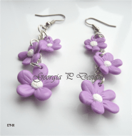 Polymer Clay Lilac flower earrings