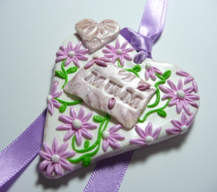 Polymer Clay Mothers Day Heart - Purple flowers