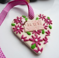 Polymer Clay Mothers Day Heart - pink flowers