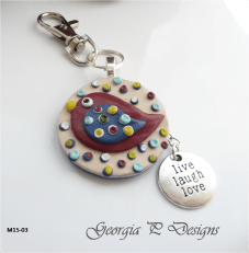 Polymer Clay bird Bag Charm/Keyring