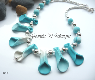 Polymer Clay blue tone necklace