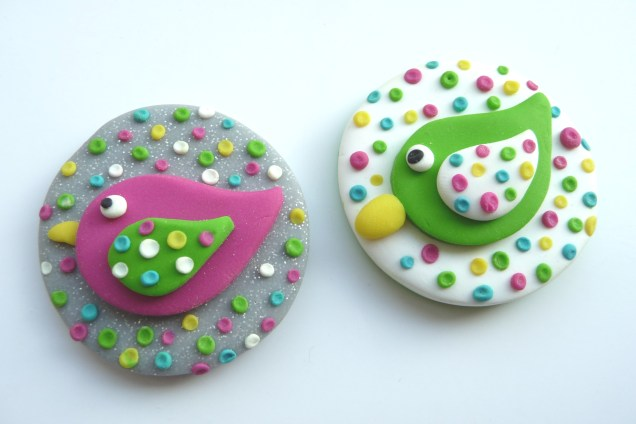 Polymer clay bird key rings (before chains etc added)