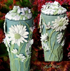 Morning Stretch Polymer Clay on Glass Vase by Leslie Rhoades