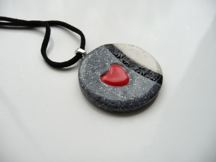 Polymer clay marble/granite effect valentine pendant