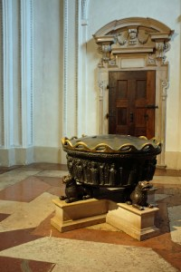 Oldest item in cathedral, may be Roman, used as Baptismal font.