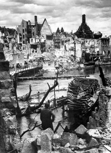 A photo taken in 1945 of the historic center of Nuremberg reduced to rubble after several bombing raids.