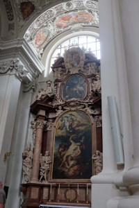 This is a beautiful church, rebuilt at the height of the baroque era. All the art moves heavenward.