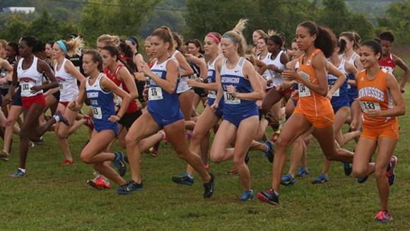 The Georgia State cross country team gets ready to run in the Sun Belt Championships, Oct. 29.  Signal Archives