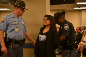 Sen. Moreno gets arrested for denying to sit down during the BOR hearing. Photo by: Christina Maxouris | The Signal