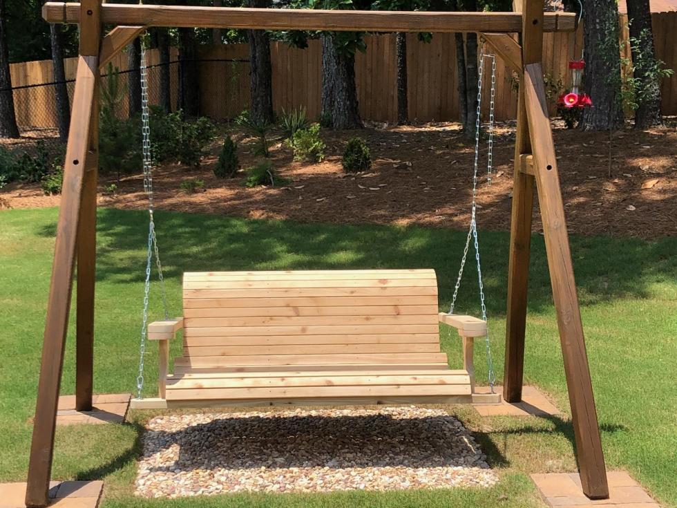 Unfinished Wood Porch Swing