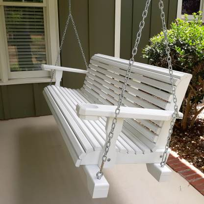 white porch swing with chains
