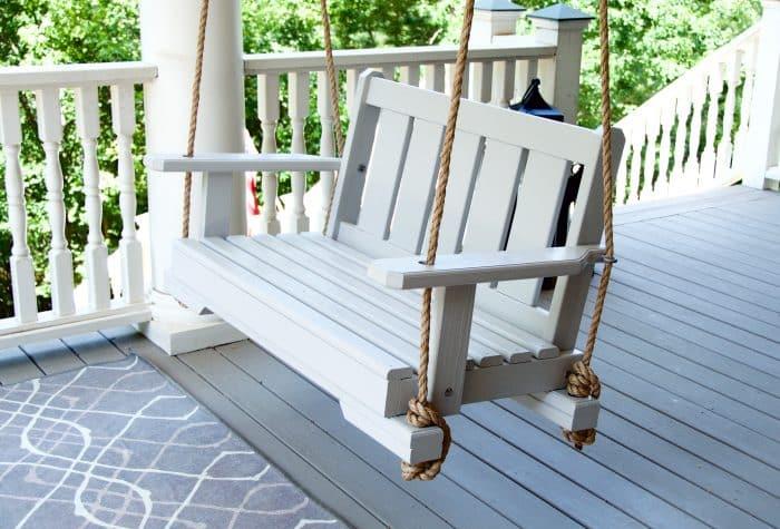 Classic White Porch Swing
