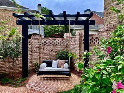 Black Wooden Porch Swing