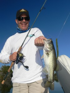 Bill Lindsey of Fort Lauderdale, Fl. caught his first largemouth at Bienville Plantation (he usually saltwater fishes).  This 3-pounder ate a waterboy-colored Bass Assassin Fat Job Worm fished on a Carolina-rig.