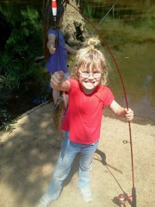 "Delani caught this nice bluegill over the weekend from the Ocmulgee River. Her sister, Destiny, didn't want to stop fishing long enough to look the camera, but she gave her little sister a big ""thumbs up!"""