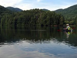 Kayak fishing on Unicoi.