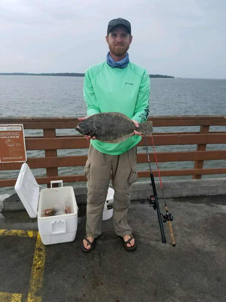 Hunter Bechtel caught this 19-inch flounder from the St Simons Pier on a finger mullet earlier this summer. As soon as the water clears, flounder fishing should pick back up.