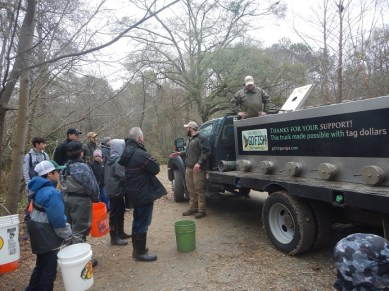 Instructions given to Volunteer Trout Stockers at Chattahoochee