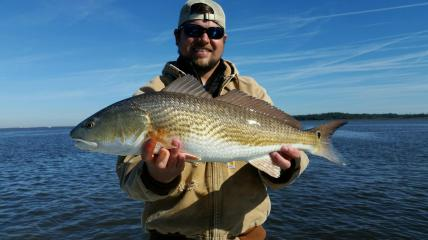 Ryan Harrell with his Redfish caught on a Gulp shrimp