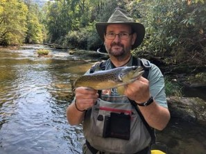 Leon Brotherton (DNR Fisheries Technician) with a nice trout from the Chattooga