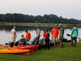 Participants waiting to enter the water at McDuffie PFA.