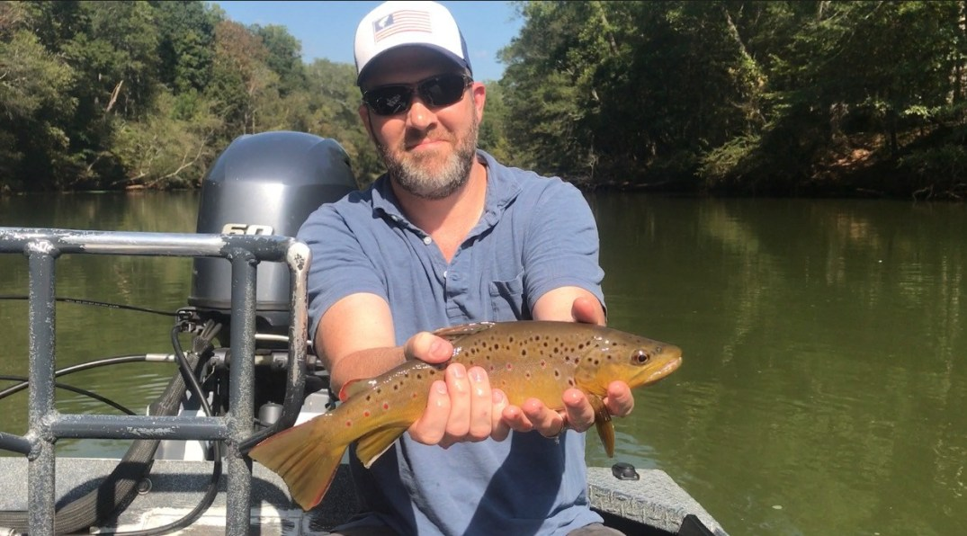 Chattahoochee angler with a quality 'Hooch Brown Trout